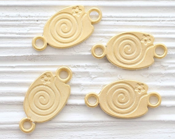 5pc gold spiral connector, just dangles, spiral pendant, oval connector, matte gold flat connector, flower jewelry,daisy, necklace connector