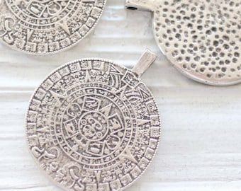 Large round silver pendant, silver spiral pendant, tribal pendant silver, large hole pendant, disc coin pendant, hammered, focal pendant