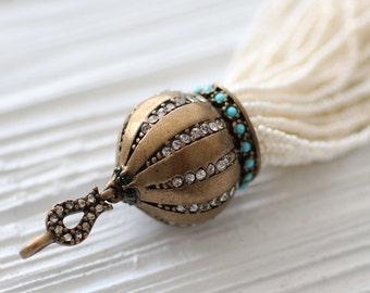 Ivory beaded tassel with rhinestone and turquoise antique cap, ornate bead tassel, statement tassel pendant, off white, pearl bead tassel