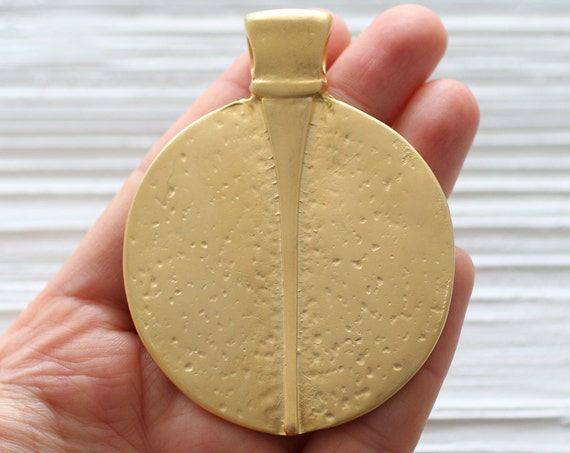 Gold tribal pendant, gold medallion, boho pendant, large pendants, large medallion, round pendant, rustic pendant, large medallion