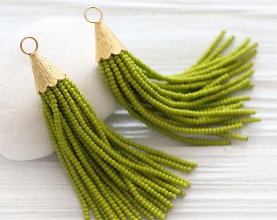 Olive green beaded tassel, short bead tassel, earrings tassel, pistachio, tassel, gold cap tassel, necklace tassel, decorative, lime,N24