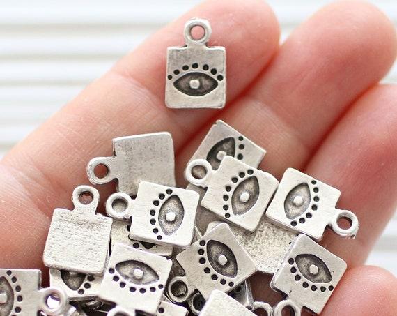 10pc silver charms with evil eye, square bracelet charms, evil eye charm, good luck charms, necklace charms, earring charms, bracelet dangle