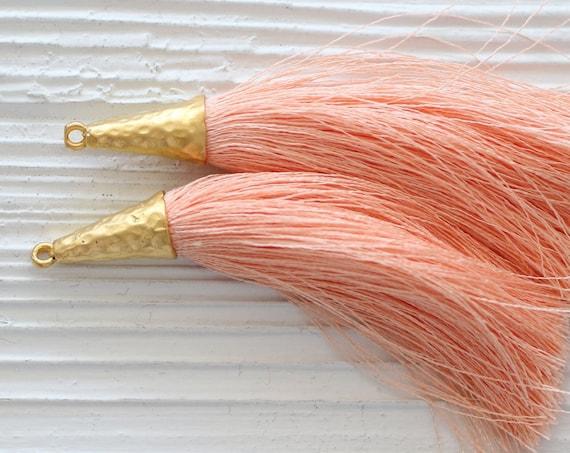 Blush silk tassel, tassel with gold cap, coral, blush pink, peach tassel, tassel pendant, jewelry tassels, dangle necklace mala tassel, N60