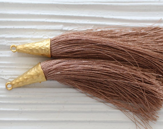 Brown tassel, gold cap coffee brown silk tassel, large tassel, tassel pendant, jewelry tassels, necklace tassel, mala tassel, N38