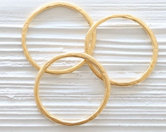 2pc matte gold round hoop pendant, round connector, gold link, circle pendant, thin necklace rings, organic shape, earrings hoops, hammered