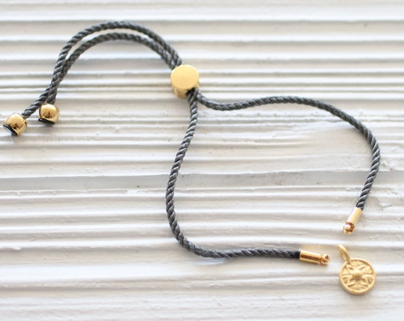 Adjustable gray cord bracelet, DIY cord bracelet blank, semi-ready cord bracelet with gold sliding stopper, friendship bracelet woven, N24