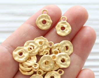 10pc hammered dangles gold, matte gold hammered beads, earring charms, gold necklace charms, round charm pendant, bracelet charms, circle