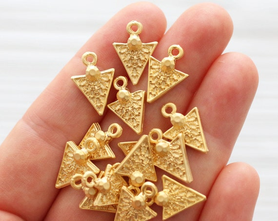 10pc gold triangle charms, gold dagger, large spike charms, earrings charm dangle, rustic, large hole charms, necklace bracelet charms