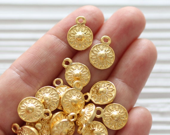 10pc large tribal beads gold, earring charms, disc beads, coin beads, gold beads, metal round charms, bracelet necklace charms, dangles, L