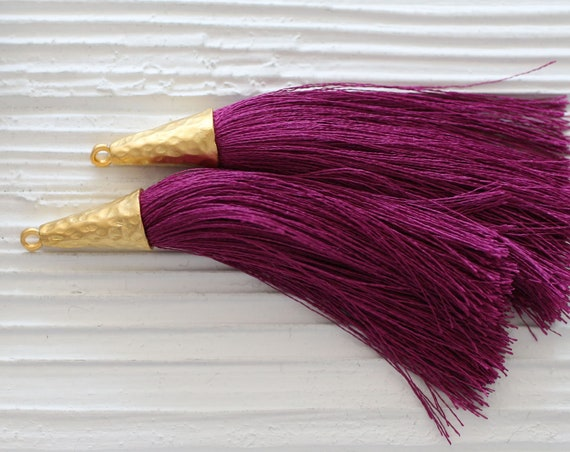 Plum purple silk tassel, magenta, tassel with gold cap, large tassels, jewelry tassels, fuchsia tassel, necklace tassel,long mala tassel,N21