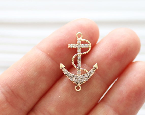 Anchor pave pendant connector, anchor dangle pendant, sea pave charms, rhinestone pave beads, earring dangles, bracelet pave connector
