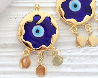 Navy blue evil eye pendant, filigree evil eye pendant dangle, ornate, evil eye findings, gold bezel evil eye jewelry, earrings charms dangle