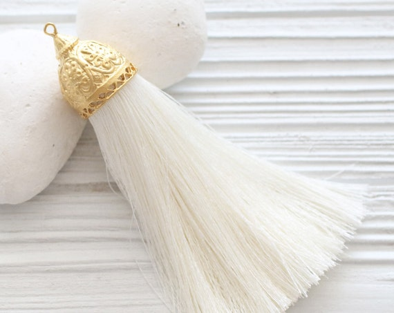 Extra large ivory silk tassel with rustic gold tassel cap, thick silk tassel, gold cap tassel, off white, DIY, necklace tassel pendant, N2