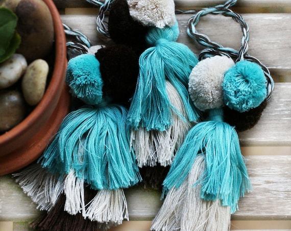 Turquoise pom pom tassel, purse charm, beige blue pom poms tassel bag charm, keychains pom pom tassel, knob decorative pom poms,wall hanging