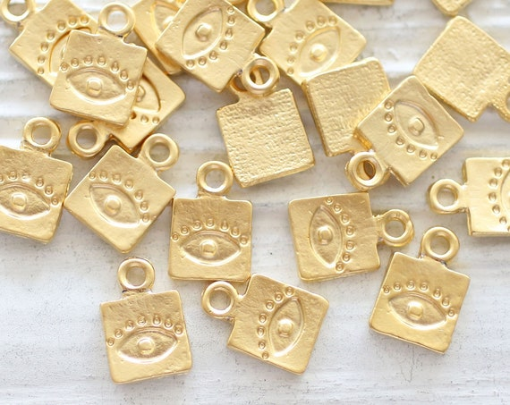 10pc gold charms with evil eye, square bracelet charms, evil eye charm, good luck charms, necklace earring charms, bracelet dangle