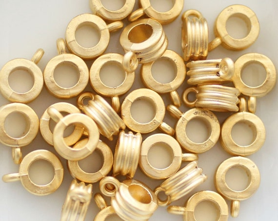 2pc bails gold, pendant bails, bails for pendant, metal gold spacer beads, gold bail beads, metal beads, tribal beads, bails for jewelry