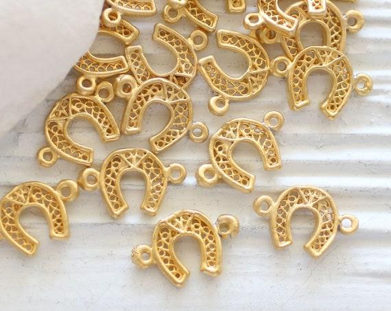 5pc filigree horseshoe charm, horseshoe connect charm,  lucky charms, horse shoe, gold charm connector, gold filigree findings, gold beads