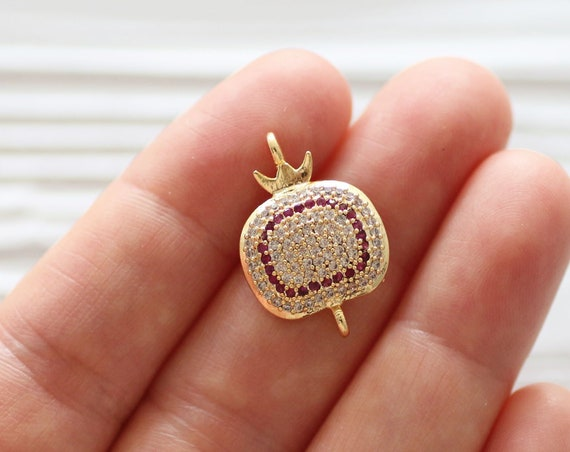Pomegranate pendant connector, rhinestone pomegranate dangle pendant, pomegranate jewelry, pave beads, earrings dangle, pave necklace charms