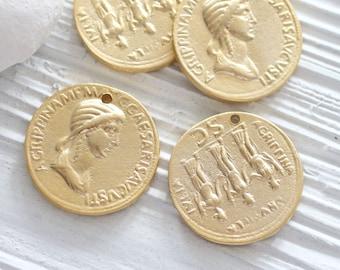Greek coin pendant, gold coin pendant, large coin medallion, coin dangles, replica Greek coins, coin pendant gold, ancient coin pendant, N1
