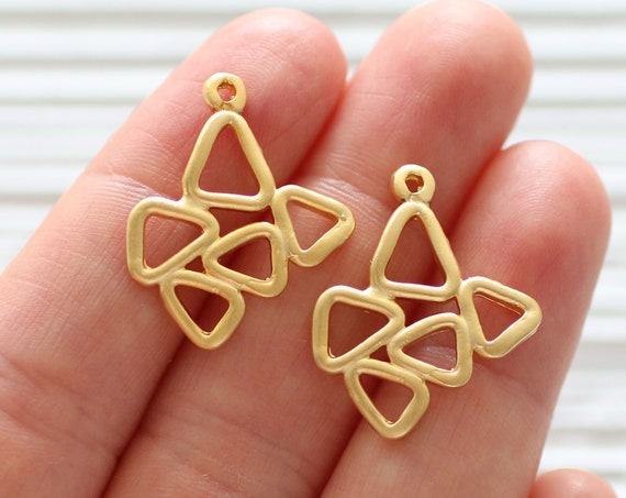 2pc large tribal charms gold, abstract charm pendant, geometrical necklace charms gold, earrings dangle, rustic, multiple triangle charm