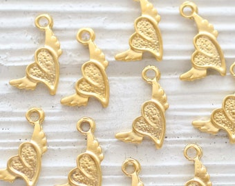 10pc heart charm with wings, necklace charms gold, heart charms for bracelet, mini heart pendant, heart dangle, earrings charms beads