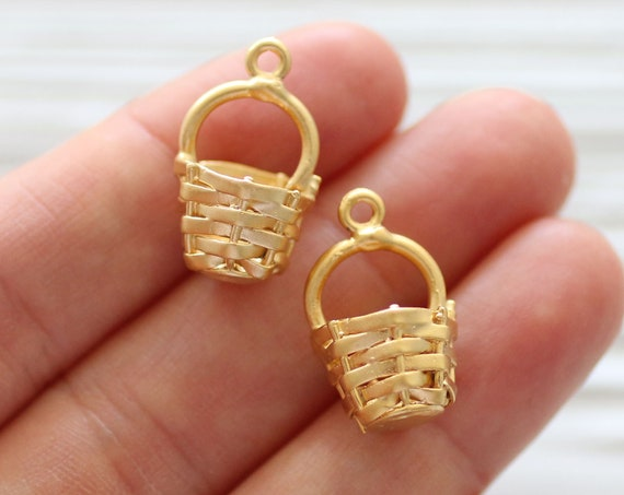 4pc large basket charms gold, craft charms, necklace charm pendant, earrings charm, gold metal beads charms, bracelet findings