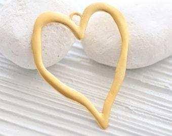 Heart pendant, large gold heart pendant, gold heart, Valentines day, gold pendant, large pendants, love pendant, valentines day gift