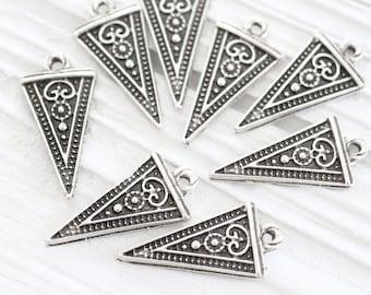 10pc tribal charms silver, triangle charms, daggar charm, silver charms, earrings dangle, triangle necklace charm pendant, large hole charm