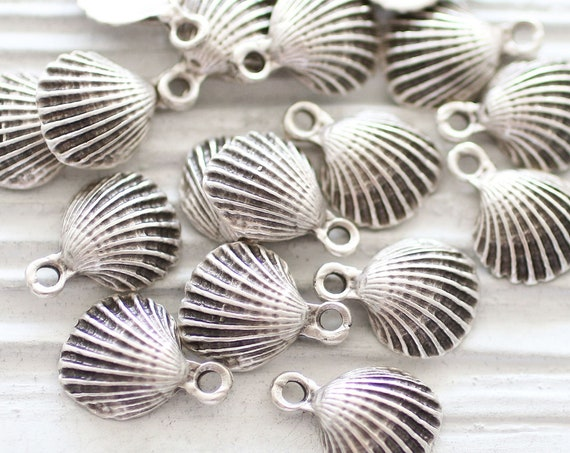 10pc shell charms silver, seashell earring charms, silver seashells, sea charms, mini sea pendant, seashell pendant charm silver, shell, L
