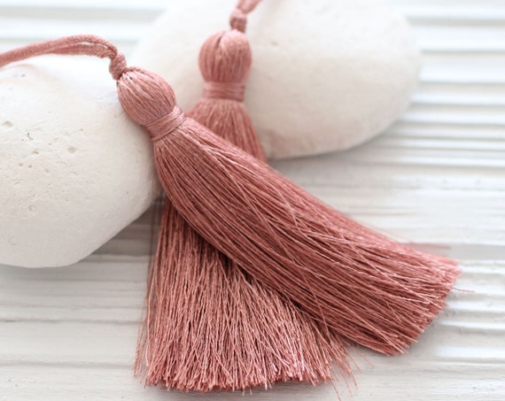 Dusty rose silk tassel, rose blush, necklace tassel, purse tassel charm, keychain tassel, decorative tassel, jewelry tassel, rose pink, N58