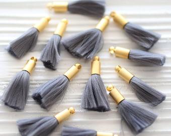 2pc mini gray tassel, earrings tassels, mini tassels, mini tassel pendant, gold cap tassel, grey tassel, short necklace tassel, smoke, N37