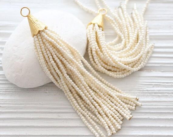 Ivory beaded tassel, long pearl bead tassel, off white, pearl seed bead, large gold cap tassel, ivory earrings necklace tassel pendant, N26