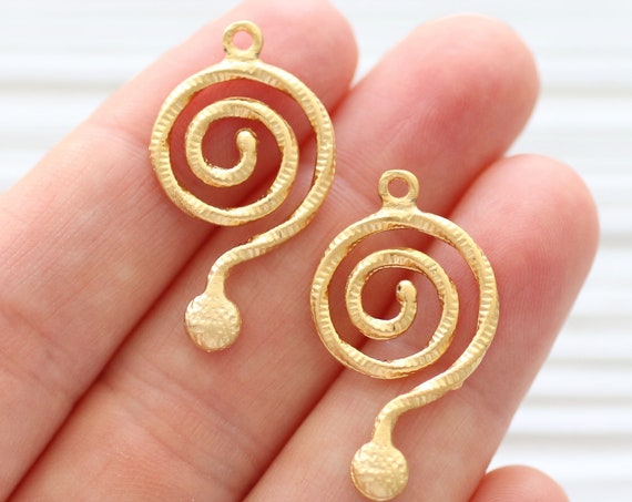 2pc earrings dangle gold, spiral charm pendant, earring charms, gold round charms, filigree pendant charms, dangle pendant, spiral pendant