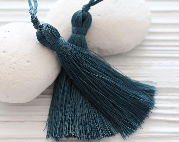 Denim blue silk tassel, navy tassel, mala tassel, tassels for jewelry, navy blue, tassel, midnight blue, decorative tassels, N54