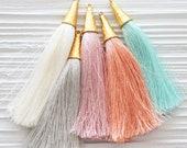 Pink silk tassel, tassel with gold cap, baby pink, blush pink tassel, tassel pendant, jewelry tassels, dangle necklace mala tassel, N35