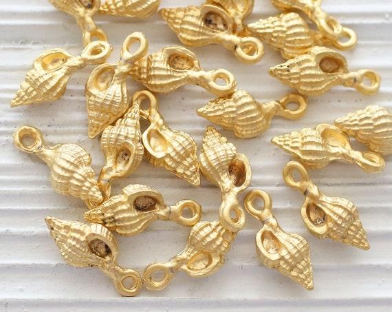 10pc seashell charm, matte gold spiral earrings charms, bracelet charms, gold charms, sea shell dangle pendant, sea charms, spiral charms