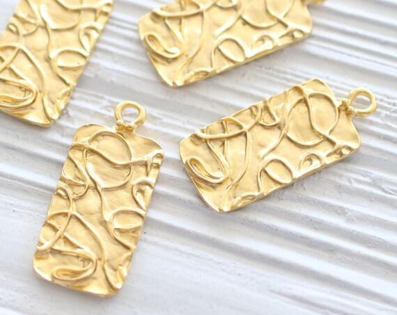 Rectangle pendant gold, modern pendant, hammered pendant gold, contemporary pendant, earrings dangle, rustic, textured, dangle pendant