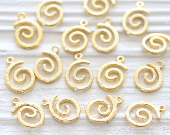 10pc matte gold spiral charm, round gold charm, tribal charm, gold metal charm, spiral beads, bracelet charms, necklace, earrings dangle