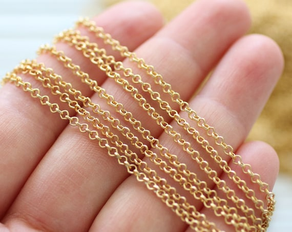 3.3 feet 2mm gold rolo chain, 24K gold plated rolo chain, chain, matte gold chain, thin rolo chain, gold chain, necklace chain,jewelry chain