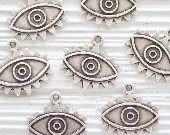 2pc evil eye charms silver, evil eye pendant, large earring charms, dangles, necklace charms, silver evil eye metal beads, rustic charms