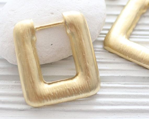 Square pendant gold, rustic pendant, earrings pendant, geometric pendant, textured, hammered metal pendant, large gold pendants