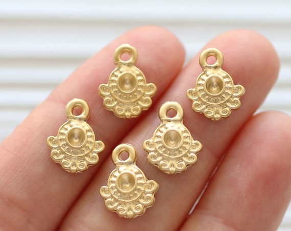 10pc matte gold tribal charms, necklace dangles, earring charms, gold beads, metal beads, rustic charms, gold charms, bracelet charms
