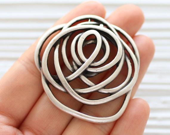 Abstract flower pendant, spiral pendant silver, daisy pendant, rose, abstract pendant, flower medallion, large leaf flower dangle pendant