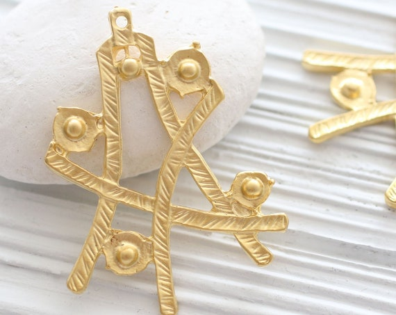 Abstract pendant gold, hammered pendant, matte gold, focal pendant, abstract, tribal pendant, big pendants, dangle pendant, gold dangles