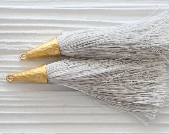 Light grey tassel, keychain tassel, large tassel, tassel pendant, gray tassel with cap, jewelry tassels, dangle tassel, mala tassel, N31