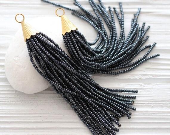 Dark gray beaded tassel, long tassel, earrings tassel, grey, glittery, bead tassel, gold cap tassel, necklace tassel, decorative,smoke, N22