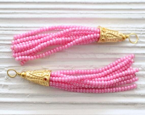 Pink beaded tassel, seed bead tassel, gold cap tassel, tassels for jewelry, jewelry tassels, tassel, earrings necklace tassel, glittery, N13