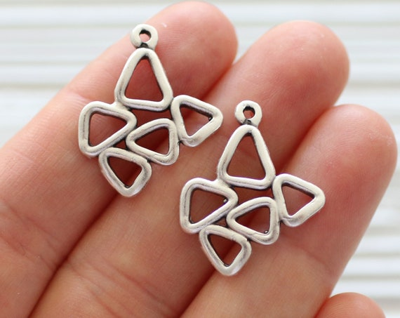 2pc large tribal charms silver, abstract charm pendant, geometrical necklace charms, earrings dangle, rustic, multiple triangle charm