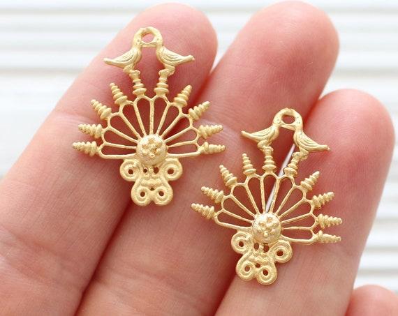 2pc chandelier earring charms, filigree earrings findings, dainty pendant gold, dainty filigree jewelry findings, cute animal dangles