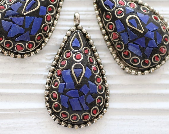 Tibetan pendant, coral and lapis inlay focal pendant, mosaic pendant, gemstone drop pendant, teardrop pendant, Nepal pendant, tribal pendant
